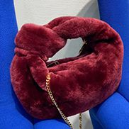 Dina Small Knotted Shearling Top Handle Bag Burgundy