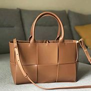 Mia Woven Leather 6 Squares Tote Camel