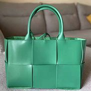 Mia Woven Leather 6 Squares Tote Green