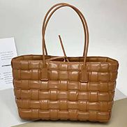 Mia Plaid Square Leather Tote Camel