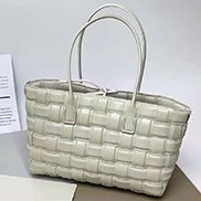 Mia Plaid Square Leather Tote White