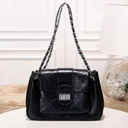 Eileen Leather Flap Shoulder Black