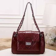 Eileen Leather Flap Shoulder Burgundy