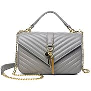 Julia Lambskin Medium Flap Bag Grey