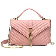 Julia Lambskin Medium Flap Bag Pink