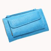Elizabeth Patent Leather Clutch Wallet Clear Blue