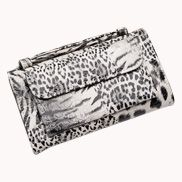 Elizabeth Patent Leather Clutch Wallet Grey White