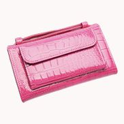 Elizabeth Patent Leather Clutch Wallet Hot Pink
