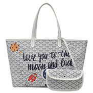 Germaine Vegan Leather Large Tote Graffiti White