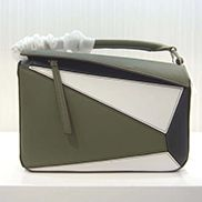 Adrienne Geometry Leather Shoulder Bag Patchwork Green White
