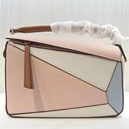 Adrienne Geometry Leather Shoulder Bag Patchwork Pink White
