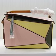 Adrienne Geometry Leather Shoulder Bag Patchwork Pink Yellow