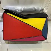 Adrienne Geometry Leather Shoulder Bag Patchwork Red Yellow