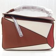 Adrienne Geometry Leather Shoulder Bag Patchwork Burgundy White