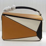 Adrienne Geometry Leather Shoulder Bag Patchwork Camel Black