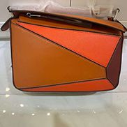 Adrienne Geometry Leather Shoulder Bag Patchwork Camel Orange
