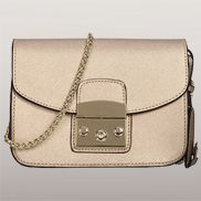 Glamvogue Leather Shoulder Bag Gold