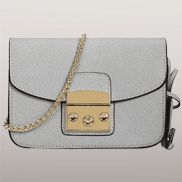 Glamvogue Leather Shoulder Bag Grey