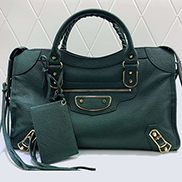 The Route 66 Goatskin Leather Large Bag Green Gold Hardware