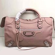 The Route 66 Goatskin Leather Large Bag Pink Silver Hardware