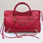 The Route 66 Goatskin Leather Large Bag Red Gold Hardware