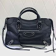 The Route 66 Goatskin Leather Large Bag Black Silver Hardware