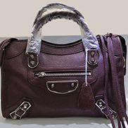The Route 66 Goatskin Leather Large Bag Burgundy Silver Hardware