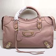 The Route 66 Goatskin Leather Large Bag Pink Gold Hardware