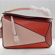 Adrienne Geometry Leather Shoulder Bag Patchwork Pink Red