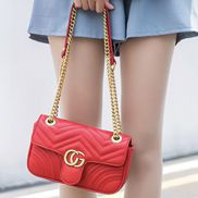 Hannah Flap Small Bag Faux Leather CG Logo Red