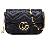 Hannah Flap Mini Bag Faux Leather CG Logo Black