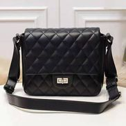 Hanna Leather Shoulder Bag Black