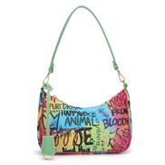 Hobo Vegan Leather Shoulder Bag Graffiti