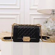 Ingrid Caviar Leather Small Flap Bag Black