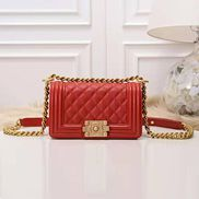 Ingrid Caviar Leather Small Flap Bag Red