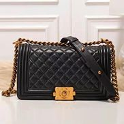 Ingrid Diamond Shape Leather Flap Black Gold Hardware