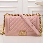 Ingrid Diamond Shape Caviar Leathar Flap Bag Pink