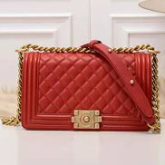 Ingrid Diamond Shape Caviar Leather Flap Bag Red