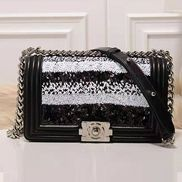 Ingrid Leather Flap Sliver Sequins Black