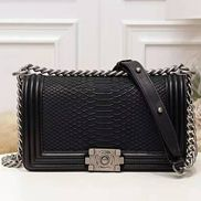 Ingrid Snake Leather Flap Black
