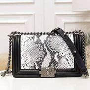 Ingrid Snake Leather Flap Black And White