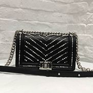 Ingrid Leather Flap Bag With Pearls Black