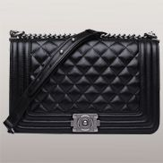 Ingrid Quilted Medium Leather Bag Classic Black