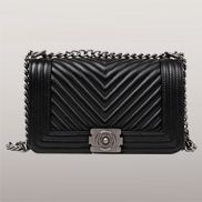 Ingrid V Shape Quilted Leather Bag Black