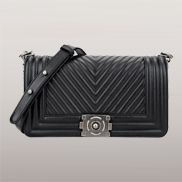 Ingrid V Shape Quilted Medium Leather Bag Black
