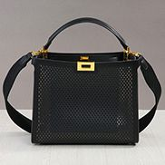 Joanne Perforated Leather Bag Black