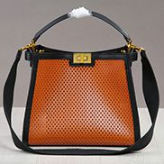 Joanne Perforated Leather Bag Camel