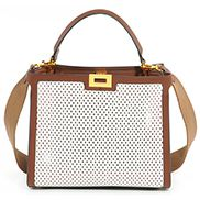 Joanne Perforated Leather Bag White