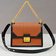 Joanne Perforated Leather Shoulder Bag Orange