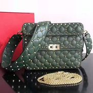 Jacqueline Studs Grain Leather Shoulder Bag Green